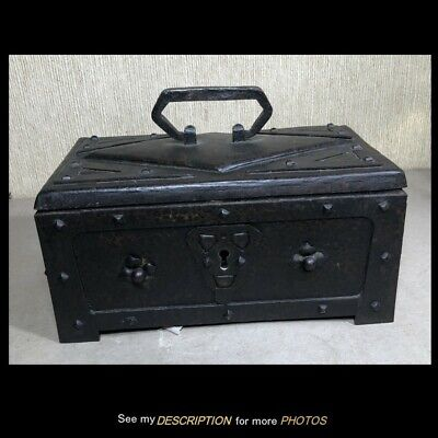 Antique Arts & Crafts Wrought Iron Strong Box / Document Box