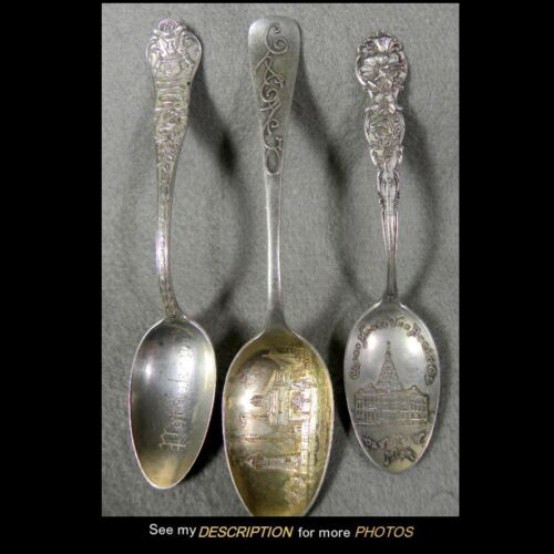 3 Antique Sterling Silver Michigan Souvenir Spoons Paw Paw Dearborn Petosky