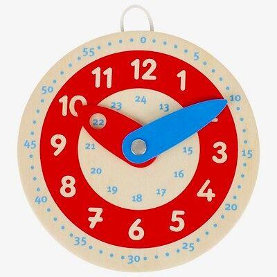 GOKI LERNUHR aus Holz Kinderuhr Uhr für Kinder Uhrzeit lernen Ø 10 cm °NEU°