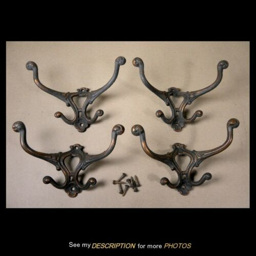 1908 Set 4 Antique Victorian Hall Tree / Seat Cast Iron Hooks
