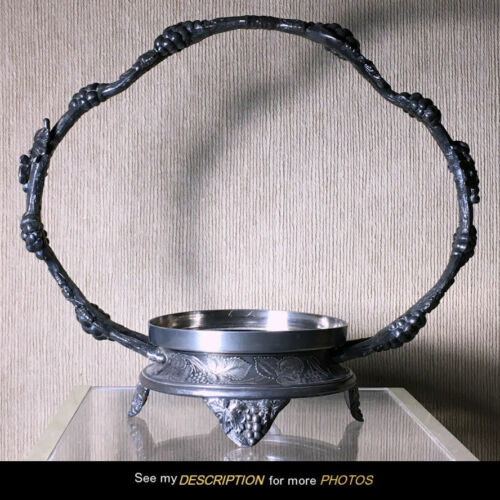 Great Antique Pairpoint Silver Plate Brides Basket Bowl Holder Grapes