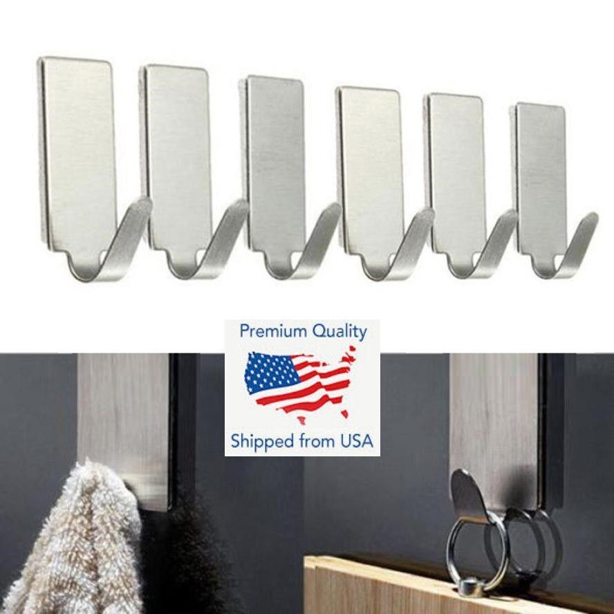 NDAQUC 6PCS Strong Adhesive Hook Wall Door Sticky Hanger Holder Adhesive Hook