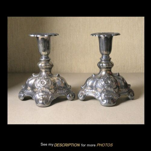 CG Hallberg Stockholm Sweden 800 Silver Rococo Pair Candle CANDLESTICKS