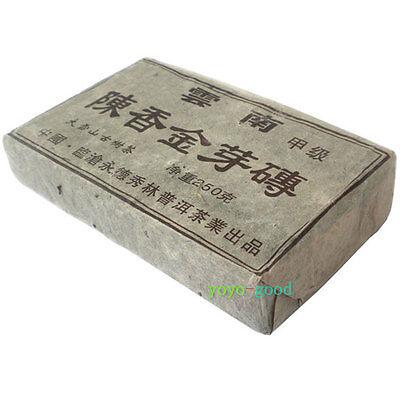 2000 yrs Yunnan Stale Fragrance Gold Bud Ripe Pu'er Puerh Brick Old Tea 250g