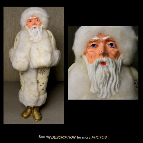 """1890-1910 German 11-1/2"""" Belsnickle Santa Claus White Robe with Gold Stars"""