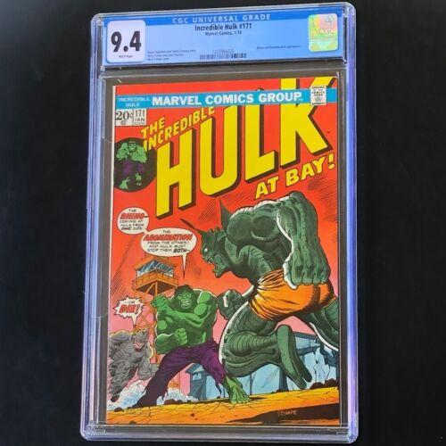 Incredible Hulk #171 (1974) 💥 CGC 9.4 White Pgs 💥 Rhino & Abomination! Marvel