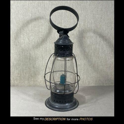 Antique Primitive Candle Lantern Star & Diamond Tin Cutout Top Blown Globe