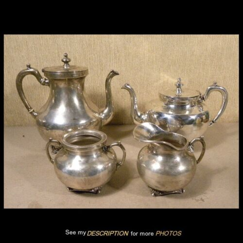 MCM 1950s Gerardo Lopez Taxco Mexico Sterling Silver 4pc Tea Set 63.52 troy oz