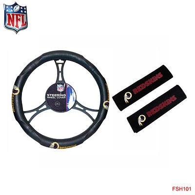 NFL Washington Redskins Car Truck Steering Wheel Cover and Seat Belt Pad Cover