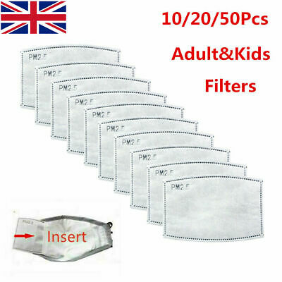 10-50PCS Activated Carbon  Filter Replaceable PM2.5 Breath Insert Anti-dust UK