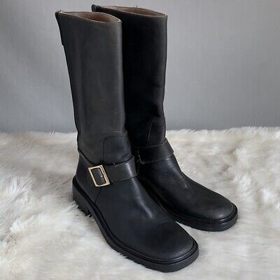 Gucci Womens Vintage Moto Engineer Mid Calf Leather Boots Black Size EU 36 US 6