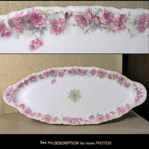 Theodore Haviland Limoges FISH PLATTER pink drop rose H3704