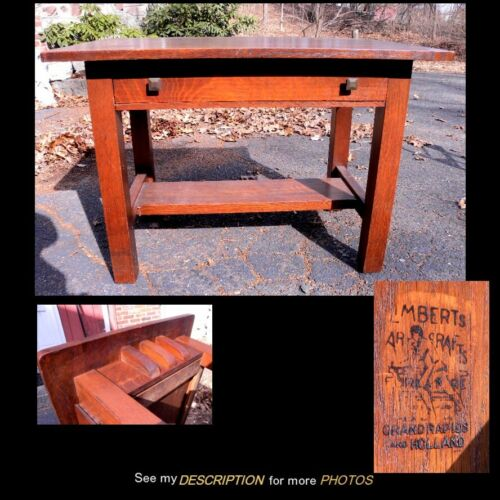 Antique Signed Limbert Oak Arts & Crafts Mission Library Table 3 Top Corbels