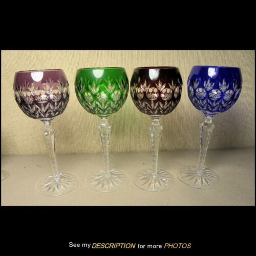 """4 Antique Bohemian Cut to Clear Crystal Wine Glasses Cut Stems 7-3/4""""H"""
