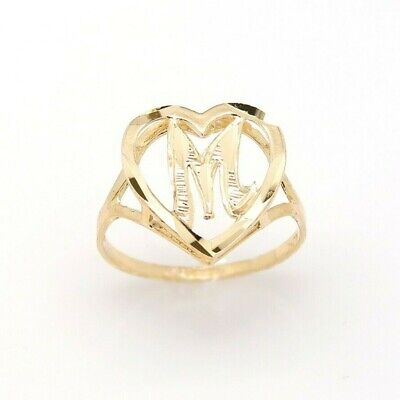 10K Gold Heart Initial Ring, A-Z, Alphabet Ring, Real Yellow Gold Letter -