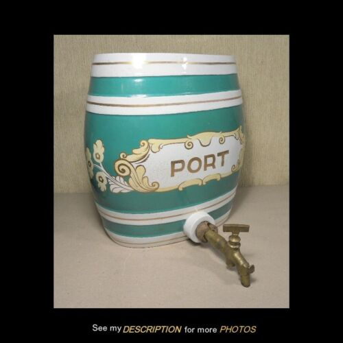 Antique English Pub Porcelain Port Wine Barrel Shaped Dispenser circa 1870-90s