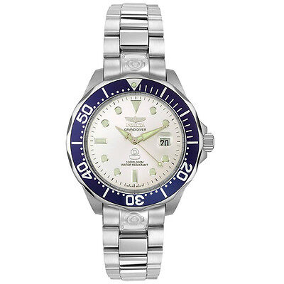 INVICTA 3046 GRAND DIVER AUTOMATIC SILVER DIAL MENS WATCH $545.00 RETAIL