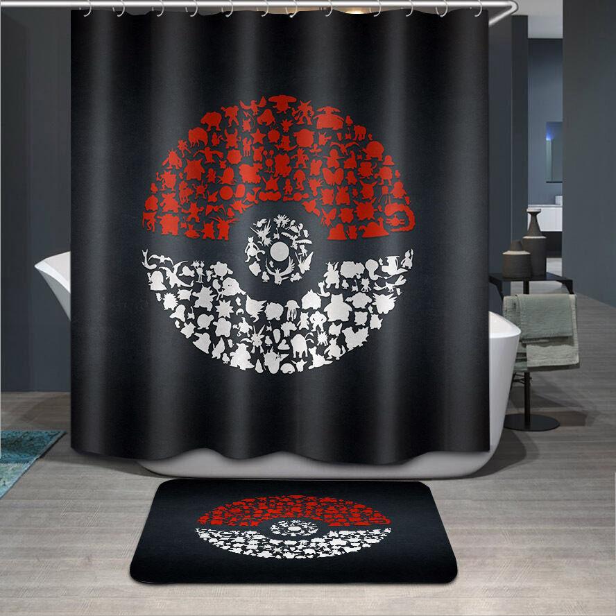 """72//79/""""Bath Fabric Shower Curtain /& Mat Rug /&12Hook-Black Cat Scratch Wall 4075"""