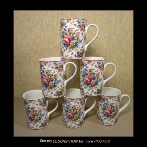 "6 Royal Albert Lady Carlyle Afternoon Tea II China Mugs Chintz 4""H"