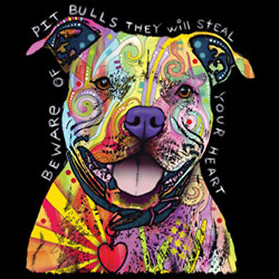 Beware Of Pit Bulls They Will Steal Your Heart Puppy Dog Lovers T-Shirt Tee ()