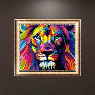 5D Diamond Embroidery DIY Lion Animal Painting Cross Stitch Craft Home Decor USA