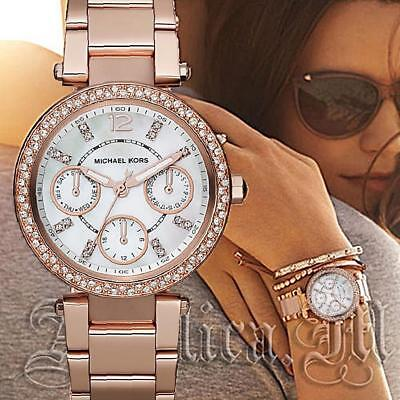 Original Michael Kors Uhr Damenuhr MK5616 Mini Parker Farbe:Rose Gold Strass NEU online kaufen