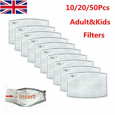 UK Face Mask Activated Carbon Filter Replace Breath Insert Filters