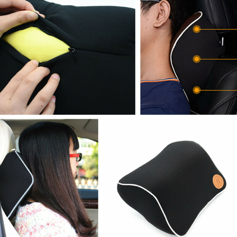 Car Space Memory Foam Neck Pillow Seat Headrest Support Pad Cushion Comfort BK