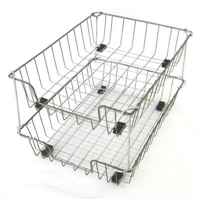 Vintage Industrial Metal Wire Desk Basket Tray Lot Of 2 With Stackers Supports