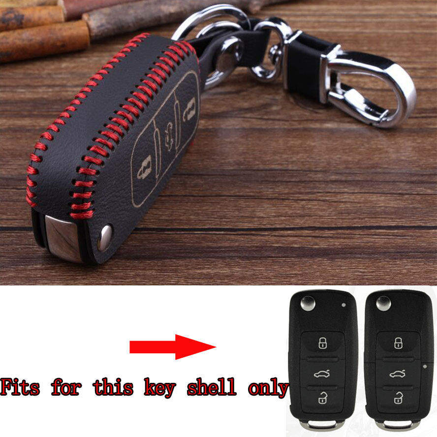 3BT Leather Remote Key Chain Fob Holder Case Cover For Golf Jetta Touareg Passat