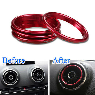 For Audi A3 8V 12 2016 4x Interior Red Dashboard Air Vent Outlet Ring Cover Trim