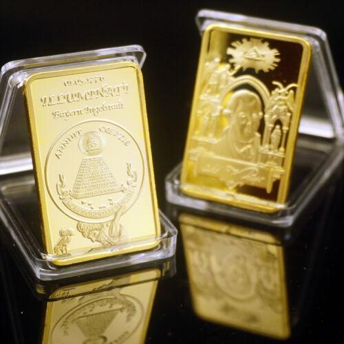 Originated 1776 Illuminati masonic mason Freemason GOLD ingot coin Bar Badge US