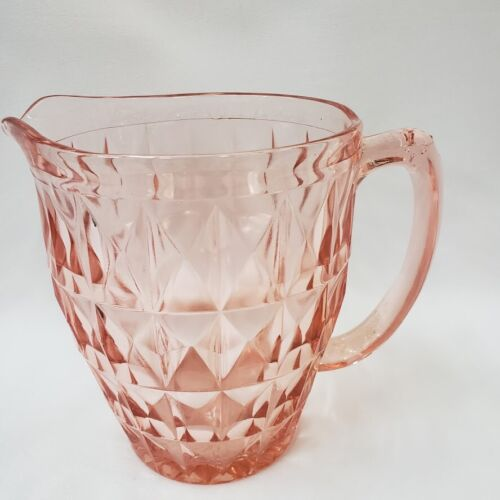 Pitcher Pink Jeannette Glass Co Depression Windsor Diamond 52 oz Vintage