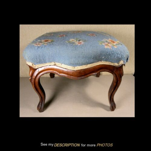 Antique Victorian Black Walnut Footstool Cabriole Leg Circa 1865-80