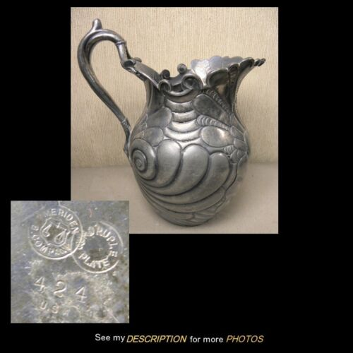 Antique Meridian Britianna MB Co Silver Plate Water Pitcher Ornate Scroll Work