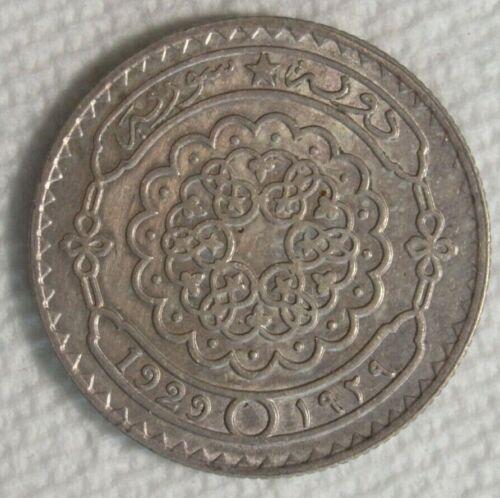 1929 SYRIA , SYRIE 50 PIASTRES  SILVER COIN XF/AU KM#74