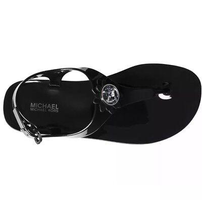 NEW Michael Kors Miley Jelly PVC Black Gunmetal Flower Thong Sandal Sizes 5 & 10 Black Flower Thong Sandal