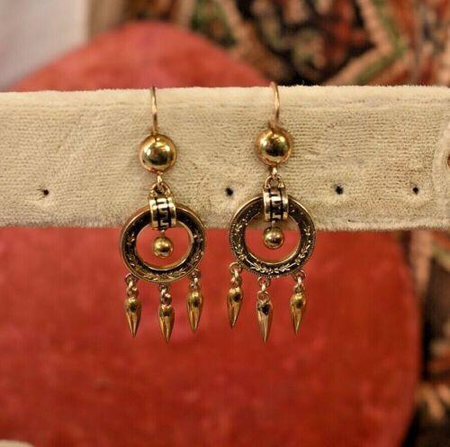 "Antique Victorian 10K rose gold black enamel dangle earrings 1 3/4"""