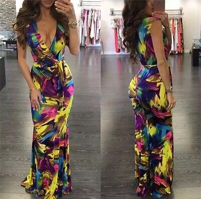 US New Women's Summer Sundress Maxi Boho Beach Party Evening Cocktail Long Dress