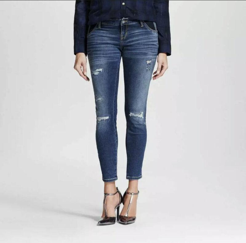 Liz Lange Maternity Ankle Skinny Distressed Jeans Elastic Waist S 4-6 GUC