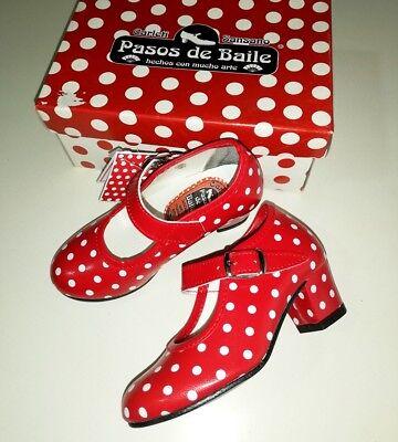 af561b85 Zapatos de baile Flamenca niña. Talla 29. Pasos de Baile. 100% hecho en  España