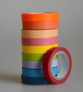 Masking Washi Tape Papierband Geschenk deko Bastel Band Klebeband 10'er Set Bunt