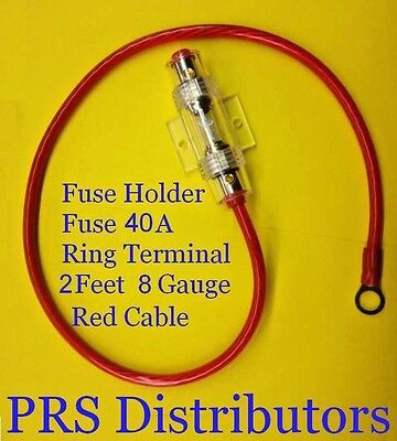8 GAUGE AGU FUSE HOLDER & 40A FUSE & GOLD RING TERMINAL & 2 FEET 8 GAUGE CABLE