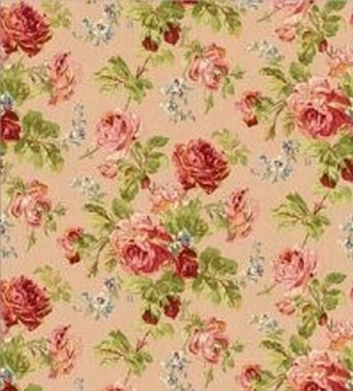 Dollhouse Wallpaper - Rose Garden - Pink Floral 1:24 Scale