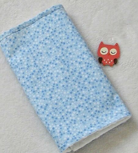 Handcrafted Flannel Blue Star Print & White Minky Bubble Baby Burp Cloth
