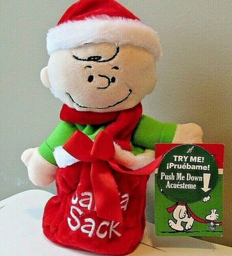 Snoopy Charlie Brown Christmas Plush Push N Pop No Batteries Needed Sound Motion
