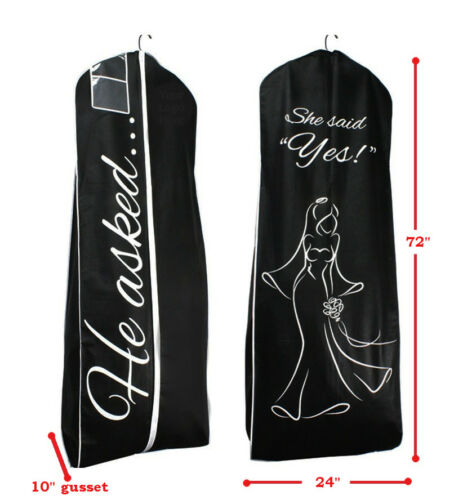 He Asked She Said Yes Storage Garment Bag - Black Wedding Gown Travel Cover