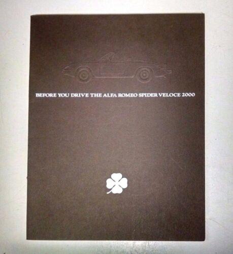 Alfa Romeo Spider Veloce 2000 Sales Brochure