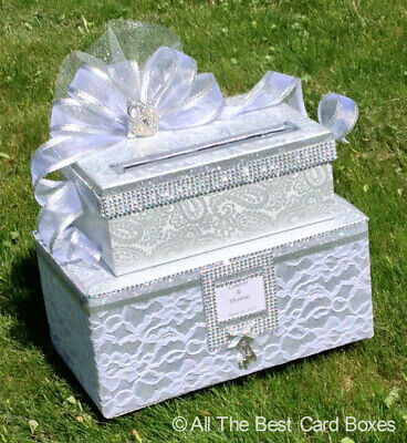 Wedding card box, Wedding* decorations, two tiers, custom, silver*, holds 80 cards, MD