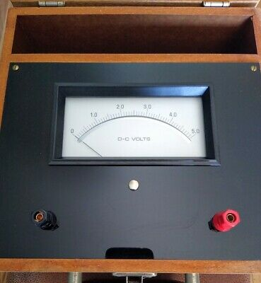 Vintage Dc Volt Meter Analog Tester In Wood Case 0 - 5 V Tested Working